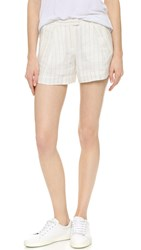 Atm Anthony Thomas Melillo Pleated Boyfriend Shorts White Stripe