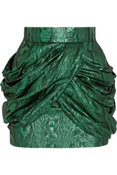 Balmain Metallic Silk Blend Jacquard Mini Skirt Green