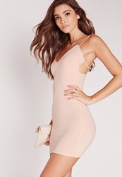 Missguided Strappy Scuba Bodycon Dress Nude Beige