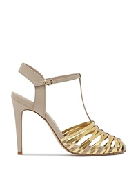 Reiss T Strap Sandals Marcie Woven High Heel Rose
