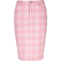 River Island Womens Pink Design Forum Flower Print Denim Skirt
