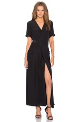 Frame Denim Le Wrap Tie Dress Black
