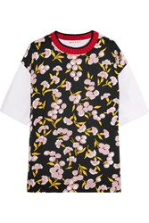 Marni Wool Trimmed Floral Print Silk And Cotton Jersey T Shirt Black