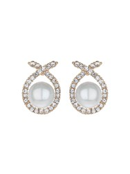 Mikey Scarf Crystal Pearl Centre Stud Earring