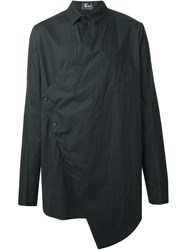 Lost And Found Asymmetric Cross Front Shirt Black