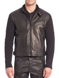 Ralph Lauren Black Label Leather Front Moto Jacket Black