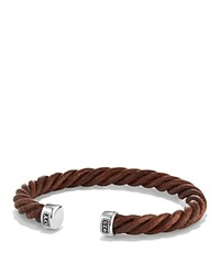 David Yurman Cable Classics Leather Cuff Bracelet In Brown