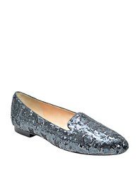 Adrienne Vittadini Daina Satin And Sequin Smoking Flats Silver