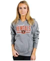 Authentic Nfl Apparel Women's Cincinnati Bengals Holiday Logo Hoodie Light Gray