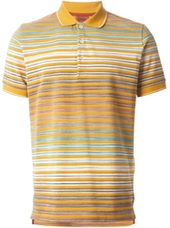 Missoni Degrade Striped Knit Polo Shirt Yellow And Orange