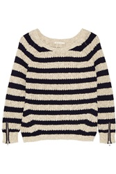 Maje Striped Cotton And Linen Blend Sweater