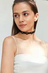 Urban Outfitters Daisy Cut Vegan Leather Choker Necklace Black