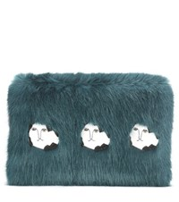 Shrimps Damsel Faux Fur Clutch Blue
