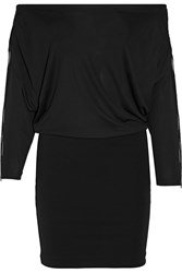 Roberto Cavalli Off The Shoulder Stretch Jersey Mini Dress Black