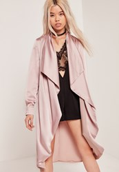 Missguided Satin Waterfall Duster Jacket Lilac Mauve
