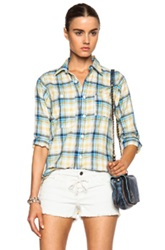 Engineered Garments Cotton Blend Twill Work Shirt In Blue Yellow Checkered And Plaid