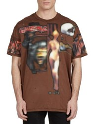 Givenchy Heavy Metal Pieced Graphic T Shirt Ebony Brown