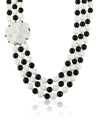 A Z Collection Black And White Camelia Clasp Glass Pearl Necklace Black White