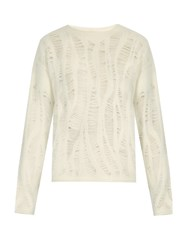 By Walid Punky Yan Shredded Cashmere Blend Sweater Ivory