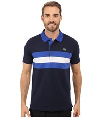 Lacoste Sport Super Light Knit Tennis Polo Navy Blue Royal Blue White Men's Clothing