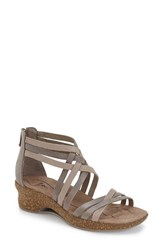 Ahnu Women's 'Trolley' Leather Wedge Sandal Mesa Taupe Leather