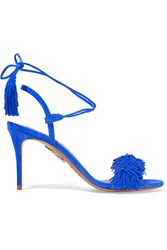 Aquazzura Wild Thing Fringed Suede Sandals Bright Blue