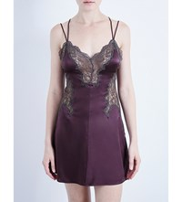Nk Imode Veronica Lace Up Stretch Silk Chemise Plum