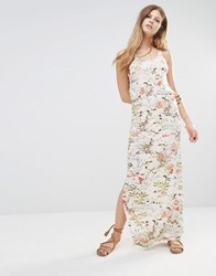 Only Racer Back Maxi Dress In Floral Print Whitecap Gray
