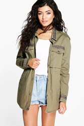 Boohoo Embroidered Trim Utility Jacket Khaki