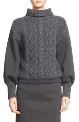 Tomas Maier Women's Cable Knit And Scuba Fleece Turtleneck