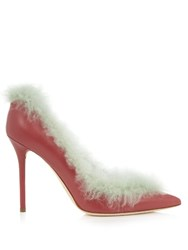 Malone Souliers Emmanuelle Fur Lined Leather Pumps Dark Pink