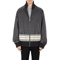 Cini Men's Striped Oversized Bomber Jacket Dark Grey