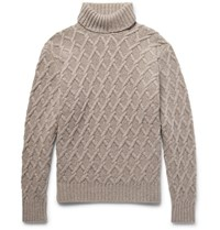 Inis Meain Ini Cable Knit Merino Wool Rollneck Weater Muhroom Mushroom