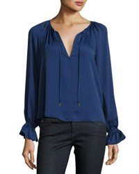 L'academie The Boho Self Tie Blouse Navy