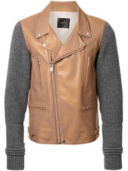 Undercover Knit Sleeves Biker Jacket Brown