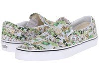 Vans Classic Slip On Chambray Leopard True White Skate Shoes Chambray Leopard True White