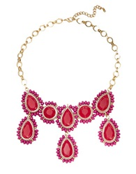 Catherine Stein Beaded Gem Bib Necklace Red Gold