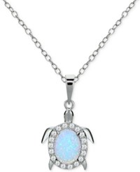Giani Bernini Cubic Zirconia And Iridescent Stone Turtle Pendant Necklace In Sterling Silver Only At Macy's
