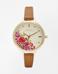 Johnny Loves Rosie Floral Dial Watch Tan