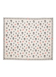 Alexander Mcqueen 'Skull Kisses' Silk Chiffon Scarf Multi Colour White