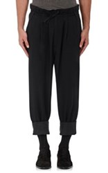 Haider Ackermann Men's Twill Paperbag Waist Crop Trousers Black