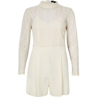 River Island Womens Cream Lace Playsuit