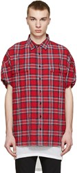 R 13 Red Check Cut Off Shirt