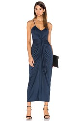 Pink Stitch Cascade Maxi Dress Navy