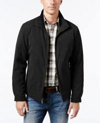 London Fog Men's Knit Trim Microfiber Jacket Black