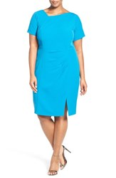 Adrianna Papell Plus Size Women's Asymmetrical Neck Short Sleeve Sheath Dress Flasy Cerulean