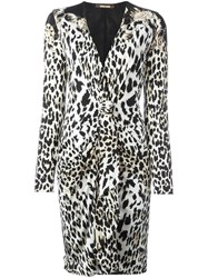 Roberto Cavalli Leopard Motif Fitted Dress Black
