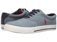 Polo Ralph Lauren Vaughn Blue Green Chambray Men's Lace Up Casual Shoes Gray