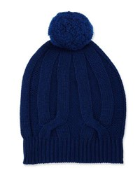 Neiman Marcus Knit Wool Blend Pompom Hat Blue