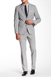 Kenneth Cole Reaction Light Grey Sharkskin Two Button Notch Lapel Suit Gray